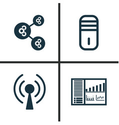 Learning icons set collection of radio waves vector