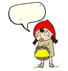 Little red riding hood cartoon with speech bubble vector