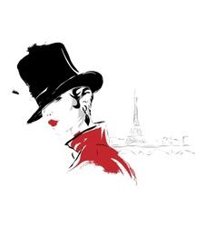 Modern girl in Paris sketch vector image vector image