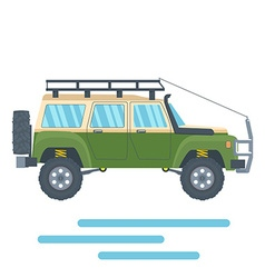 Offroad vehicle with mud tire and roof rack vector