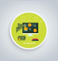 Pay per click internet advertising model concept vector
