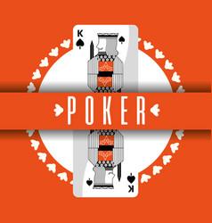 Poker card king spade banner orange background vector