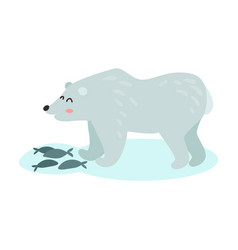 polar bear catching fish colorful vector image vector image