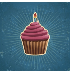 Retro birthday cupcake vector