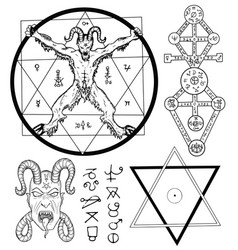 set with devil and mystic symbols vector image vector image