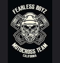 Skull wearing motorcross helmet vector