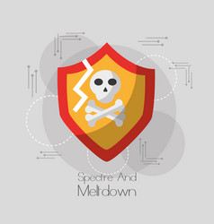 Spectre and meltdown shield protection skull bones vector