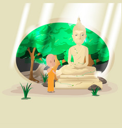 Statue buddha old forest monk vector