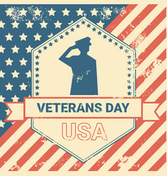 Veterans day poster with us military soldier on vector
