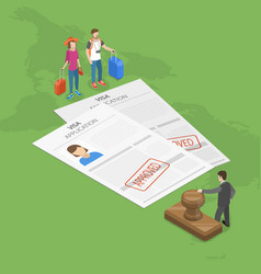 Visa application flat isometric concept vector