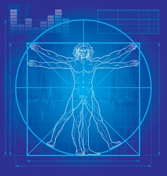 Vitruvian man blueprint version vector image vector image