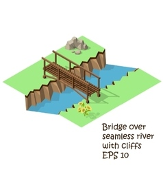 Wooden bridge cross river vector