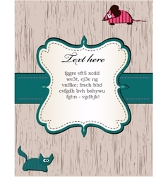 Wooden card with cat and mouse vector