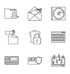 Data theft icons set outline style vector
