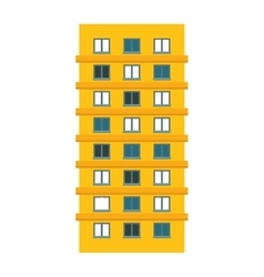 Yellow apartment building line sticker vector