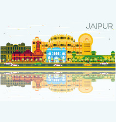 Jaipur skyline with color buildings blue sky and vector