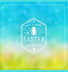Easter greeting card text template and badge vector