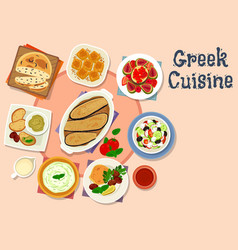 Greek cuisine tasty lunch dishes icon vector