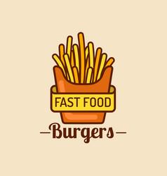 vintage fast food logo retro fry potatoes vector image