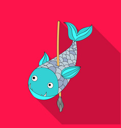 Fish on the spear icon in flate style isolated on vector