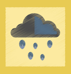 flat shading style icon cloud hail vector image