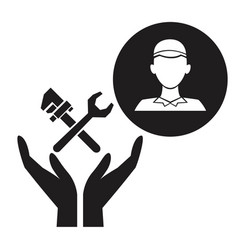 Black silhouette plumber in circular frame with vector