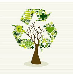 Green recycle symbol concept tree vector