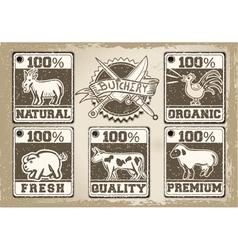 Vintage labels page for butcher shop vector