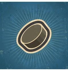 Retro hockey puck vector