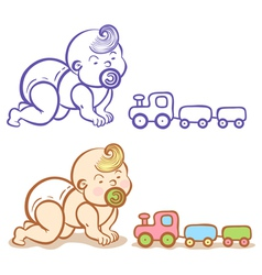 Baby and train vector
