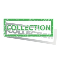 Green outlined collection stamp vector