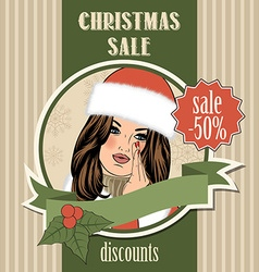 Christmas sale design with sexy santa girl vector