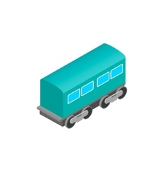 Passenger railway waggon isometric icon vector