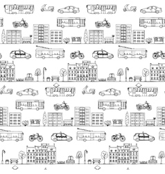 Seamless pattern with hand drawn city street vector