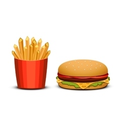 French fries and burger on white background fast vector