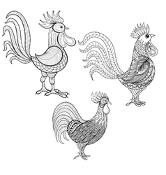 Set cocks roosters new year 2017 symbol vector
