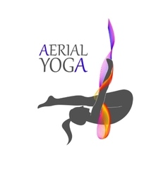 Flying yoga logo aerial yoga for women vector