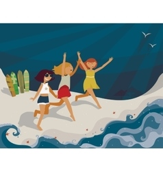 Horizontal bright with young girls vector