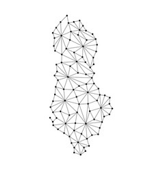Albania map of polygonal mosaic lines network ray vector