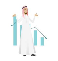 Bancrupt muslim businessman with spread arms vector
