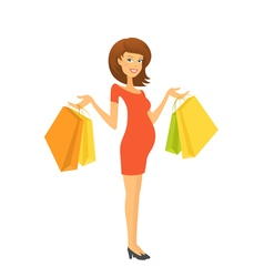 Beautiful pregnant woman with shopping bags vector image vector image