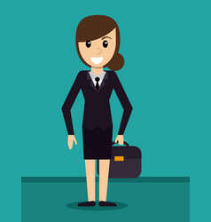 Business woman suit elegant suitcase vector
