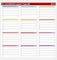 Calendar 2014 English Type 5B vector image vector image