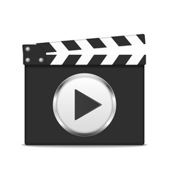 Clapper board with play button vector