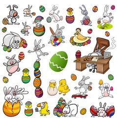 Easter characters cartoon set vector