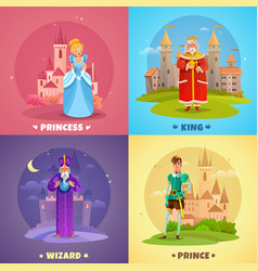 fairytale characters 2x2 design concept vector image