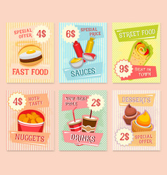 Fast food snacks price cards templates vector
