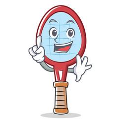 Finger tennis racket character cartoon vector
