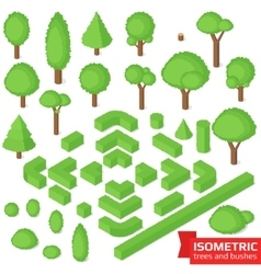 Isometric trees hedge and bushes vector
