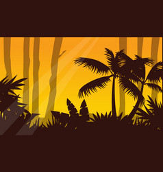 Jungle landscape with tree silhouette vector